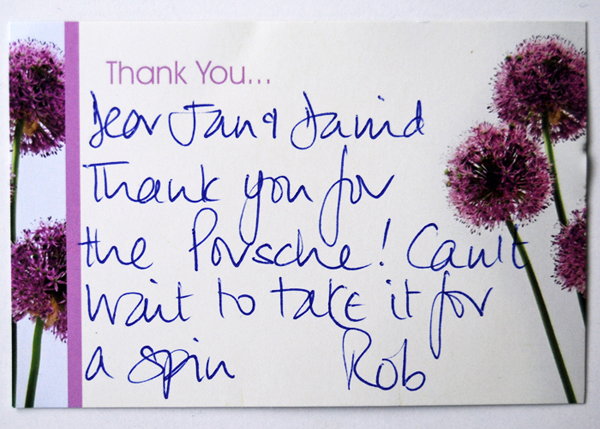 Rob's thank you card